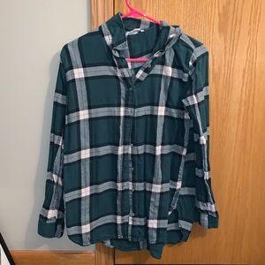 H&M Forest Green Plaid Shirt